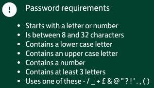 règles incompréhensibles pour le choix d'un mot de passe