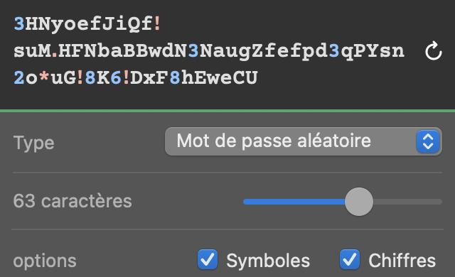 Capture d'écran de la génération d'un nouveau mot de passe aléatoire par 1Password en illustration